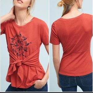 Anthropologie Tie-Waist Graphic Tee In Red Color